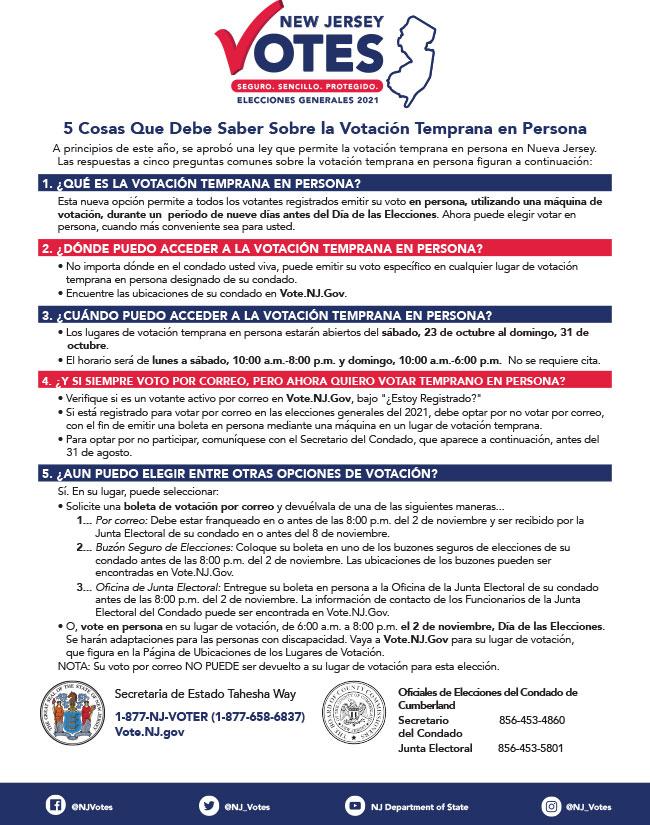 NJ Elections Flyer Spanish